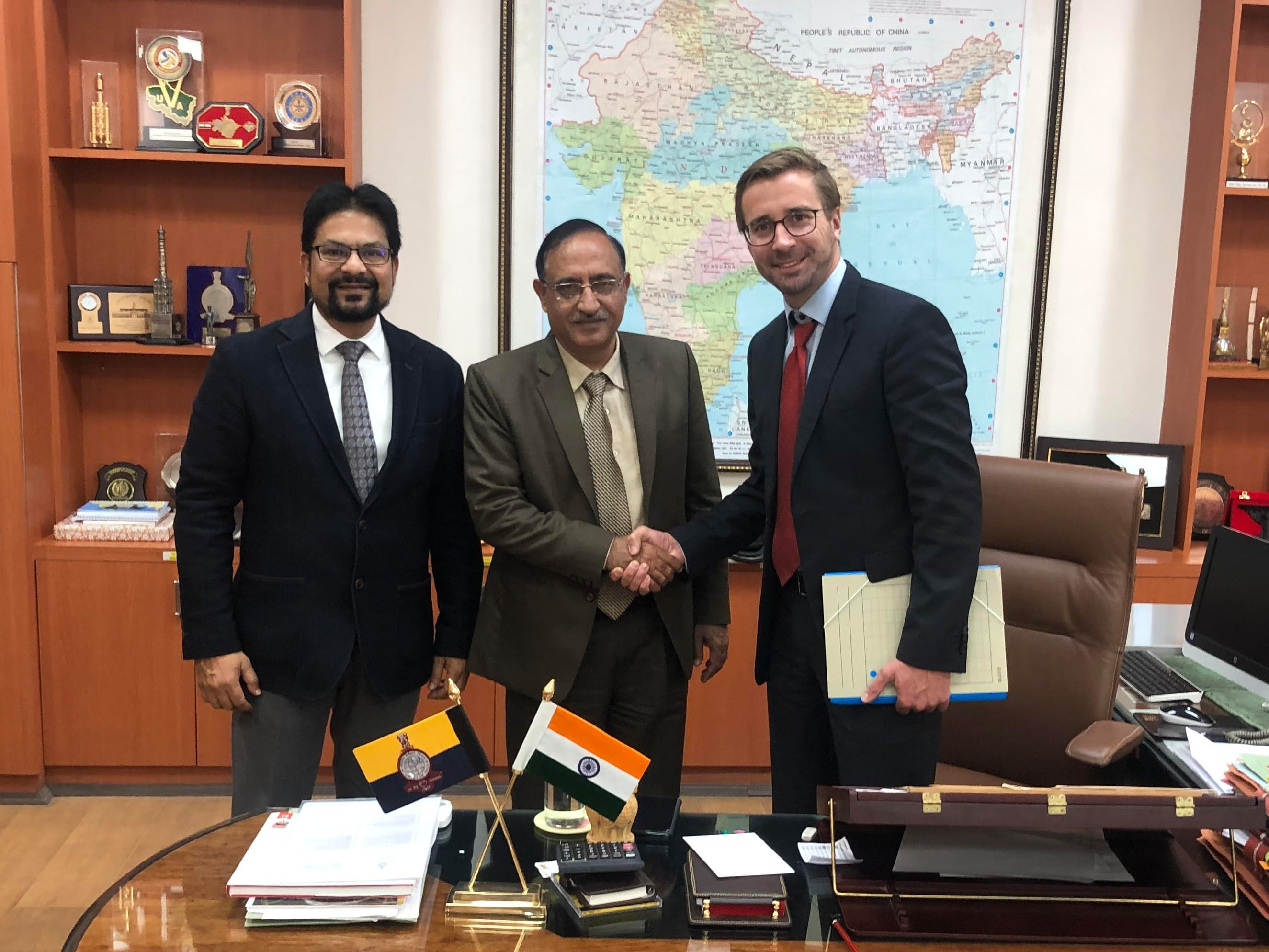 Sajid Mukhtar (MD, API-Roter Group) with Surveyor General Girish Kumar and Florian Seibel (CEO Quantum-Systems)