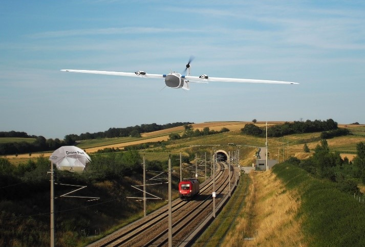 Recording of the vegetation near the tracks with the autonomously operated Trinity drone